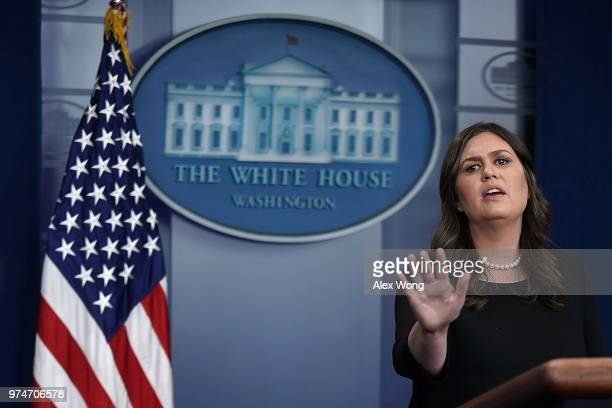 White House Press Secretary Sarah Huckabee Sanders conducts a White House daily news briefing at the James Brady Press Briefing Room of the White...