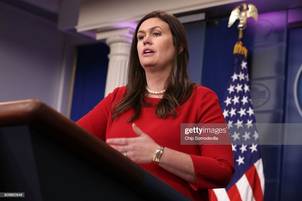 White House Press Secretary Sarah Huckabee Sanders conducts the daily press briefing at the White House August 2, 2017 in Washington, DC. Earlier in the day President Donald Trump signed bipartisan legislation into law placing new sanctions on Russia and reducing his ability to lift the sanctions on Moscow.