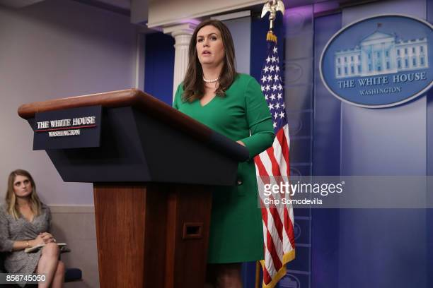 White House Press Secretary Sarah Huckabee Sanders conducts the daily press briefing at the White House October 2 2017 in Washington DC Sanders...