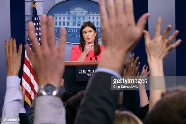 White House Press Secretary Sarah Huckabee Sanders conducts the daily news conference in the Brady Press Briefing Room at the White House May 17 2018...
