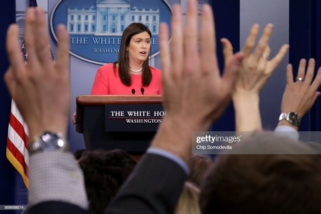 White House Press Secretary Sarah Huckabee Sanders conducts the daily news conference in the Brady Press Briefing Room at the White House May 17, 2018 in Washington, DC. Sanders faced questions about Michael Cohen, upcoming talks with North Korea, why the president called some immigrants non-people and animals and other inquiries.