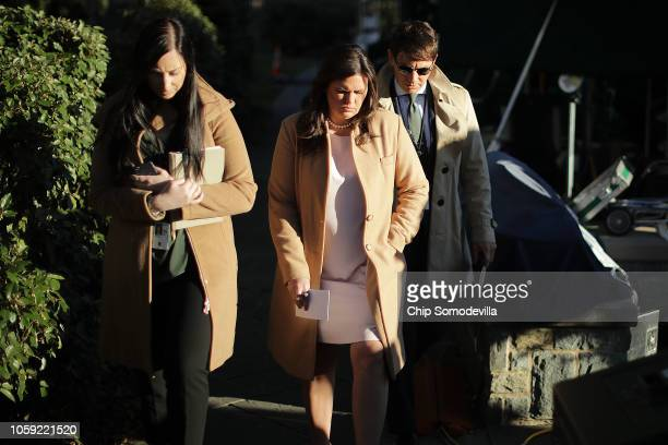 White House Press Secretary Sarah Huckabee Sanders is accompanied by White House Director of Broadcast Media Alexa Henning and Deputy Press Secretary...