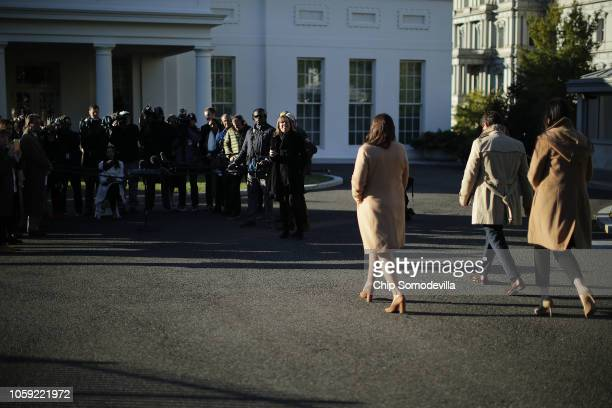 White House Press Secretary Sarah Huckabee Sanders is accompanied by White House Director of Broadcast Media Alexa Henning and Deputy Press Secretary...