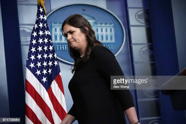 White House Press Secretary Sarah Huckabee Sanders leaves the podium after a White House daily news briefing at the James Brady Press Briefing Room...
