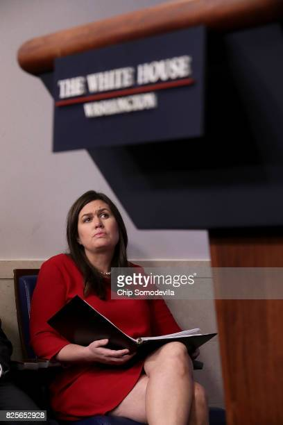 White House Press Secretary Sarah Huckabee Sanders participates in the daily press briefing at the White House August 2 2017 in Washington DC Earlier...