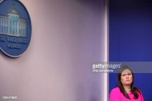 White House Press Secretary Sarah Huckabee Sanders prepares to take the podium during a news conference in the Brady Press Briefing Room at the White...