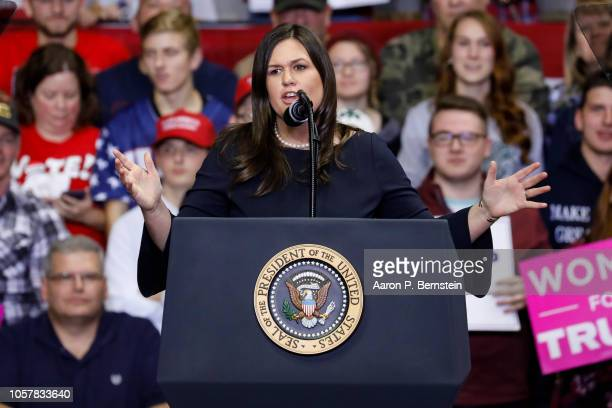 White House Press Secretary Sarah Huckabee Sanders speaks during a campaign rally for Republican Senate candidate Mike Braun and attended by...