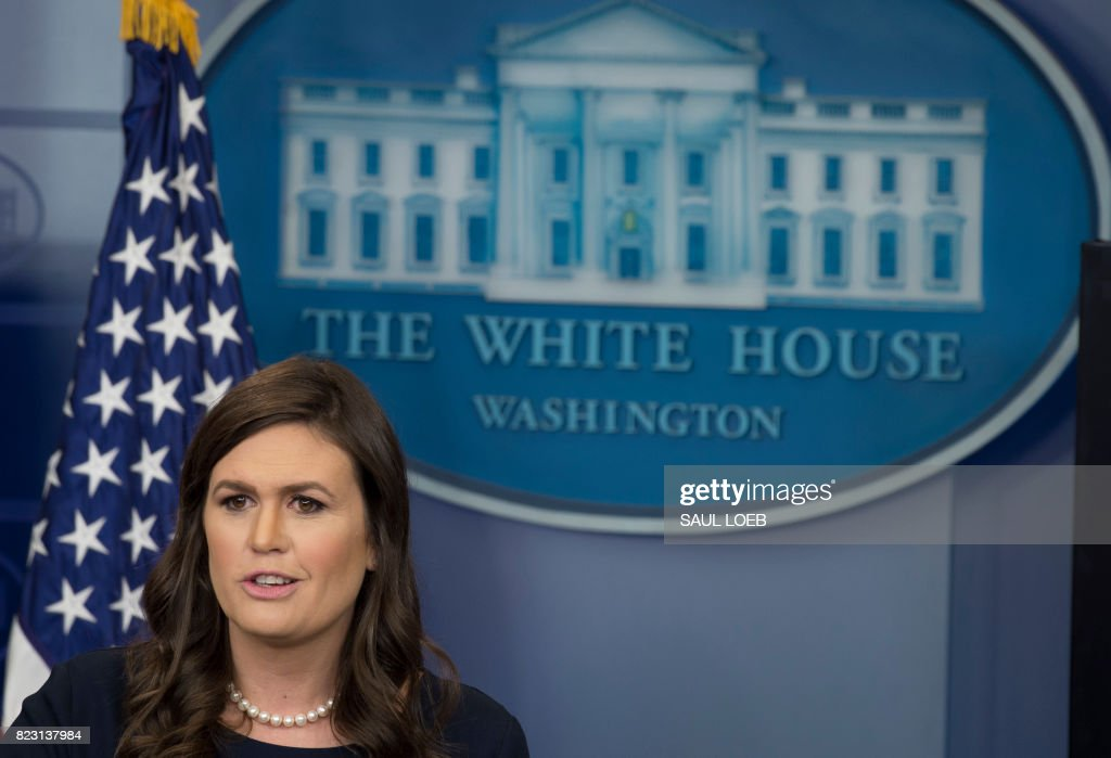 White House Press Secretary Sarah Huckabee Sanders speaks during the daily press briefing in the Brady Press Briefing Room of the White House in Washington, DC, July 26, 2017. /