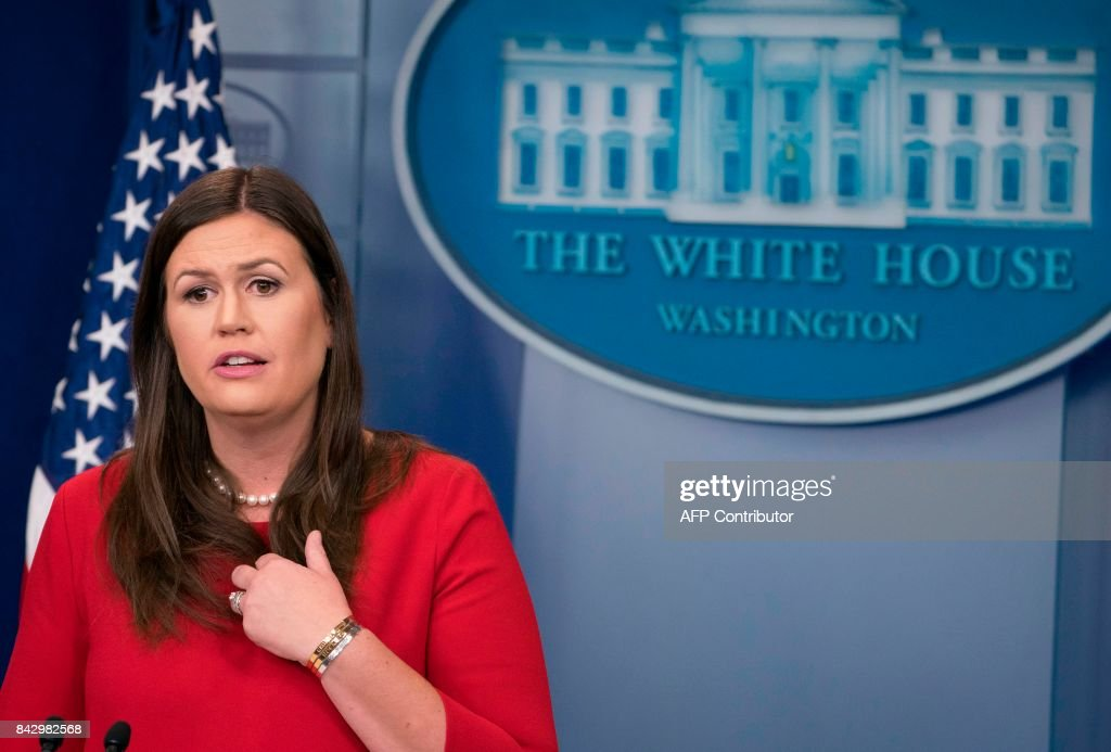 White House Press Secretary Sarah Huckabee Sanders speaks during the daily press briefing at the White House in Washington, DC, on September 5, 2017. /