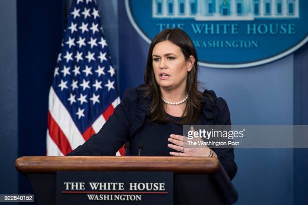 White House press secretary Sarah Huckabee Sanders speaks to reporters during the daily news briefing at the White House in Washington DC on Monday...