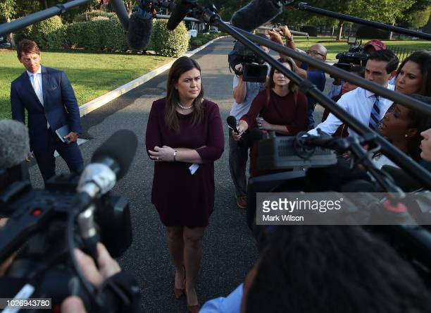White House Press Secretary Sarah Huckabee Sanders speaks to the media in front of the West Wing of the White House on September 2018 in Washington DC