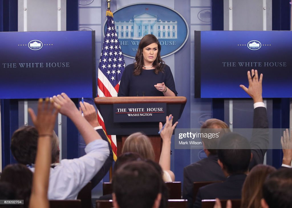 White House Press Secretary Sarah Huckabee Sanders speaks to the media during the daily press briefing at the White House on July 26, 2017 in Washington, DC.
