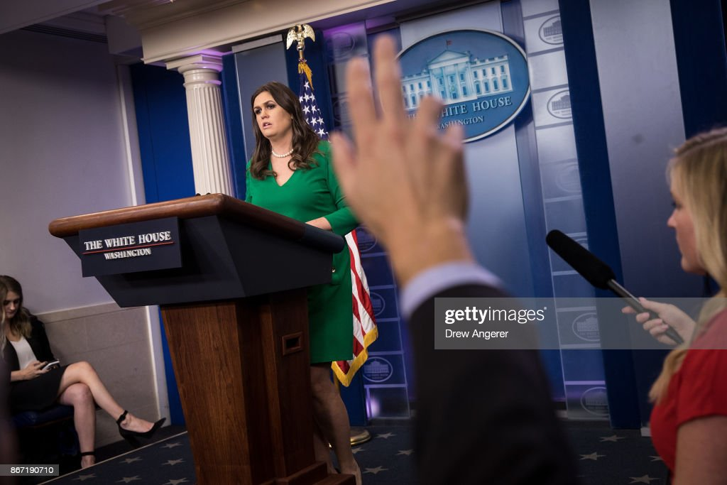 White House Press Secretary Sarah Huckabee Sanders takes questions during the daily press briefing at the White House, October 27, 2017 in Washington, DC.