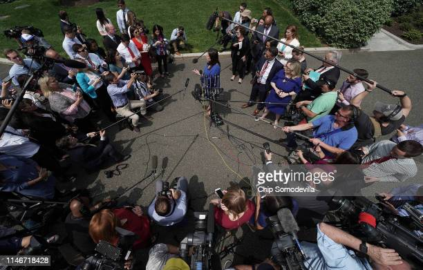 White House Press Secretary Sarah Huckabee Sanders talks to reporters outside the White House May 03 2019 in Washington DC Sanders answered questions...