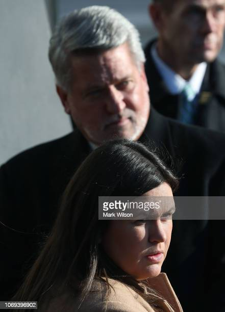 White House Press Secretary Sarah Sanders and White House Deputy Chief of Staff for Communications Bill Shine listen as US President Donald Trump...