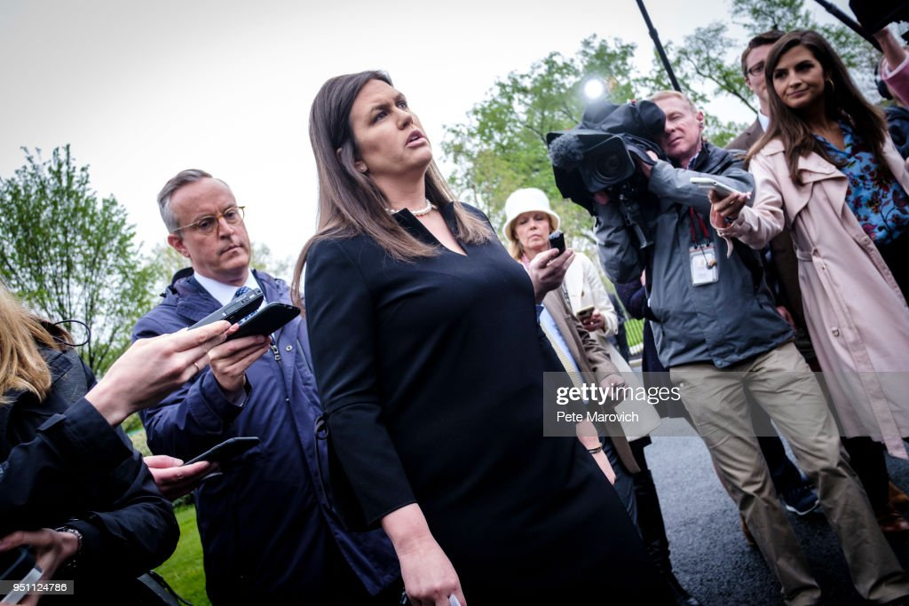 White House Press Secretary Sarah Sanders Talks To Television Reporters At The White House