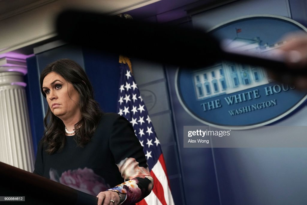 White House Press Secretary Sarah Sanders conducts a daily news briefing at the James Brady Press Briefing of the White House January 2, 2018 in Washington, DC. Sanders filled questions from members of the media in her first daily briefing of the year.
