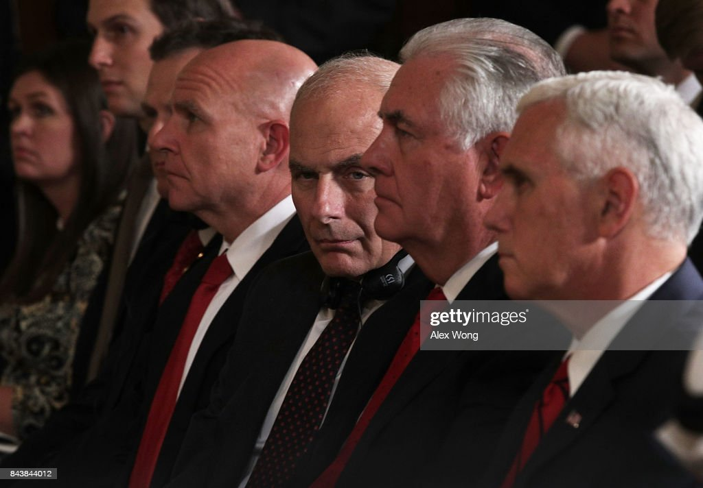 White House Press Secretary Sarah Sanders, Senior Adviser Jared Kushner, National Security Adviser H.R. McMaster, White House Chief of Staff John Kelly, U.S. Secretary of State Rex Tillerson and Vice President Mike Pence listen during a joint news conference in the East Room of the White House September 7, 2017 in Washington, DC. Following meetings and a working luncheon, the two leaders talked about their ongoing military cooperation and ongoing tensions in the Middle East.