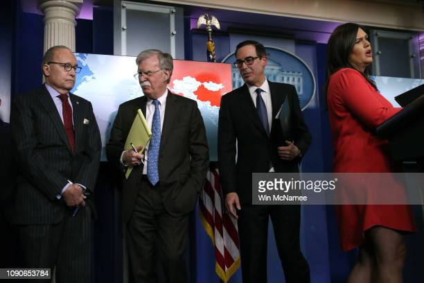 White House Press Secretary Sarah Sanders speaks during a press briefing along with Director of the US National Economic Council Larry Kudlow US...