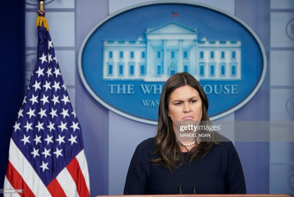 White House Press Secretary Sarah Sanders speaks during the daily briefing in the Brady Briefing Room of the White House on April 13, 2018 in Washington, DC. / AFP PHOTO / Mandel NGAN