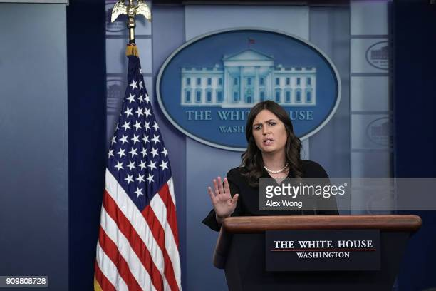 White House Press Secretary Sarah Sanders speaks during the White House daily briefing in the James Brady Press Briefing Room at the White House...