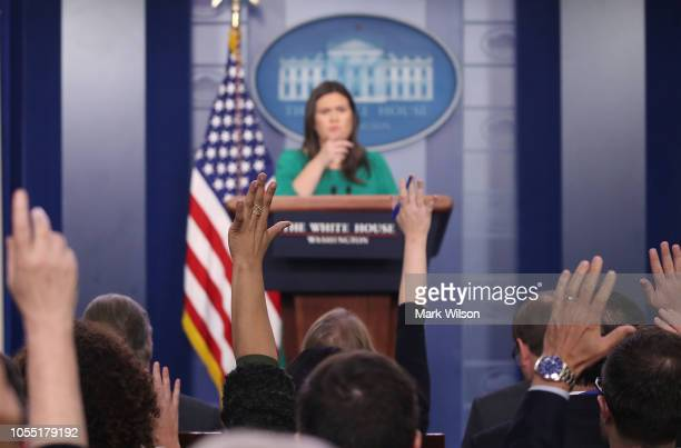 White House Press Secretary Sarah Sanders speaks to the media during a briefing in the Brady Briefing Room at the White House on October 29 2018 in...