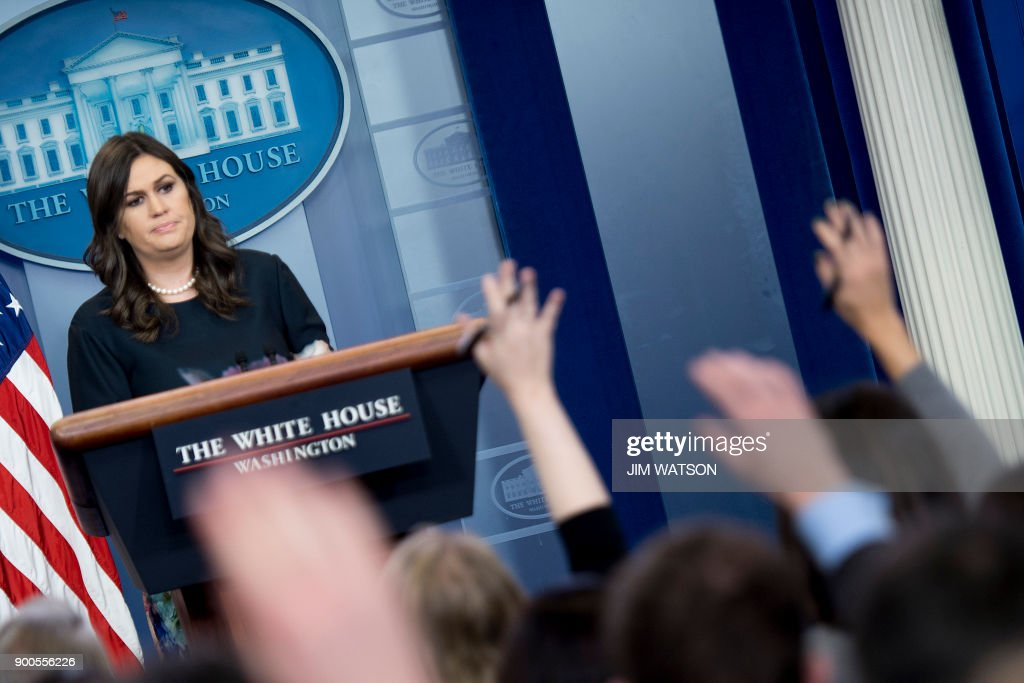 White House Press Secretary Sarah Sanders takes questions during the daily briefing at the White House in Washington, DC, on January 2, 2018. /