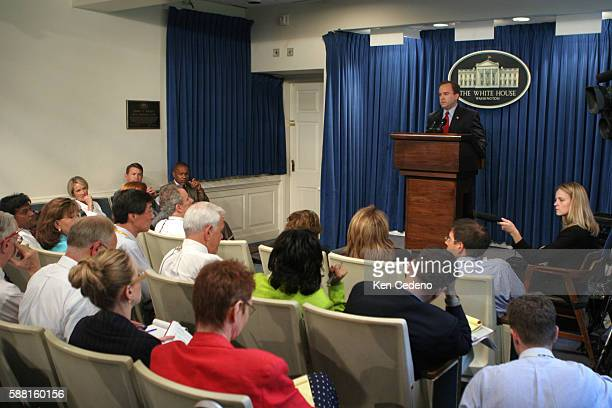 White House Press Secretary Scott McClellan answers questions during his daily briefing Monday July 18 at the White House McClellan continued to be...