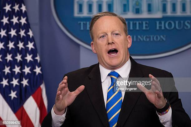 White House Press Secretary Sean Spicer answers questions during the daily press briefing in the James Brady Press Briefing Room at the White House...