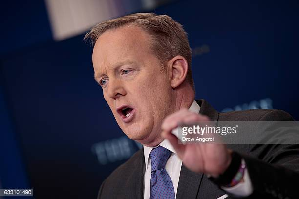 White House Press Secretary Sean Spicer answers questions during the daily press briefing at the White House January 30 2017 in Washington DC US...