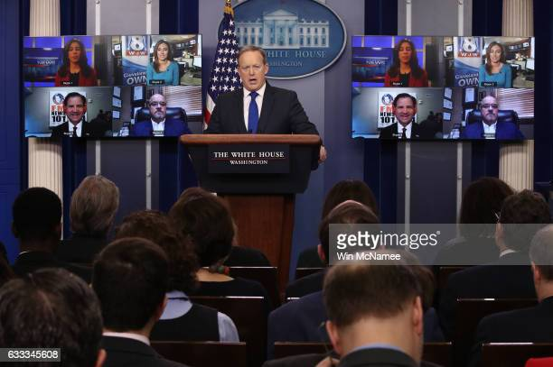 White House Press Secretary Sean Spicer answers questions from reporters via Skype on February 1 2017 in Washington DC The Skype Seats in the...