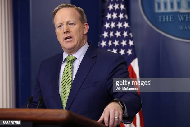White House Press Secretary Sean Spicer answers questions in the White House briefing room February 2 2017 in Washington DC
