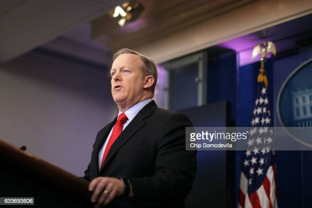White House Press Secretary Sean Spicer answers reporters' questions in the Brady Press Briefing Room at the White House February 3 2017 in...