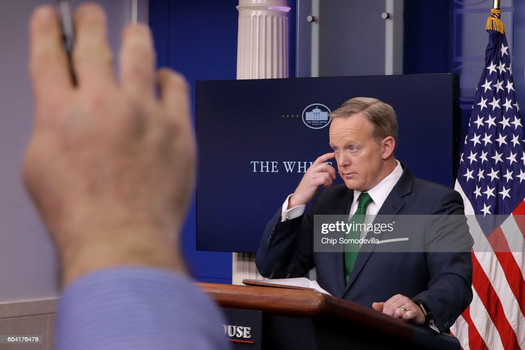 White House Press Secretary Sean Spicer answers reporters' questions in the Brady Press Briefing Room at the White House March 16, 2017 in Washington, DC. Spicer accused the news media of 'cherry-picking' information when reporting about President Donald Trump's accusation that former President Barack Obama wire-tapped Trump Tower.