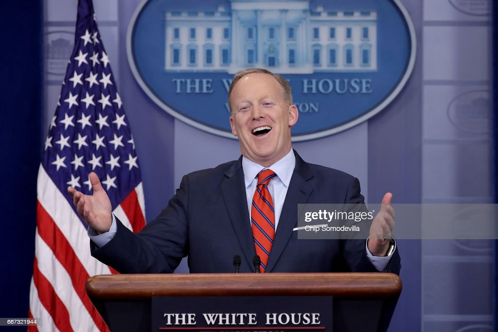 White House Press Secretary Sean Spicer answers reporters' questions during the daily news conference in the Brady Press Briefing Room at the White House April 11, 2017 in Washington, DC. Spicer said that different from Syrian President Bashar Al-Assad, Nazi leader Adolph Hitler did not use chemical weapons, saying, 'I think when you come to sarin gas, he was not using the gas on his own people the same way that Assad is doing.'