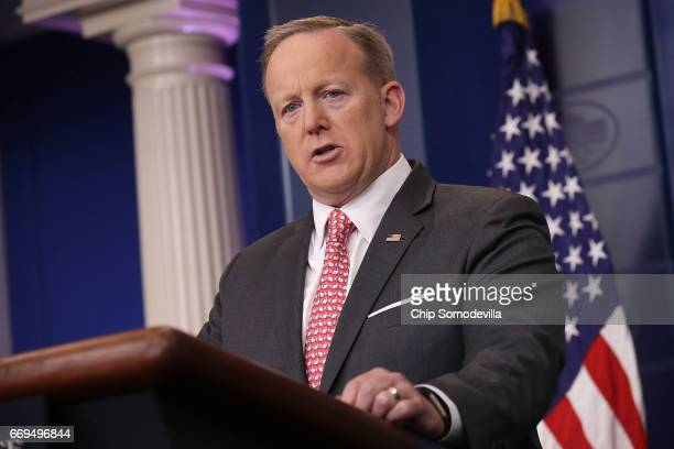 White House Press Secretary Sean Spicer answers reporters' questions during the daily press briefing at the White House April 17 2017 in Washington...