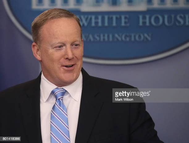White House Press Secretary Sean Spicer briefs members of the media during a daily briefing at the White House June 26 2017 in Washington DC Spicer...