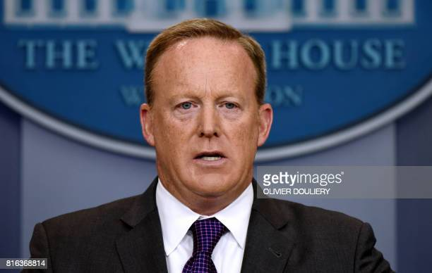White House Press Secretary Sean Spicer briefs members of the media during a daily briefing at the White House on July 17 2017 in Washington DC / AFP...