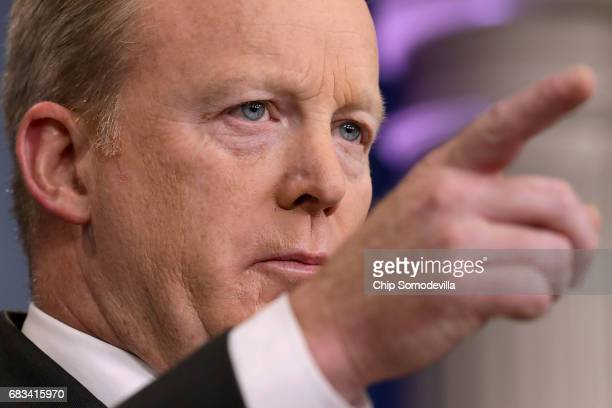 White House Press Secretary Sean Spicer calls on reporters during the daily press breifing at the White House May 15 2017 in Washington DC Reporters...