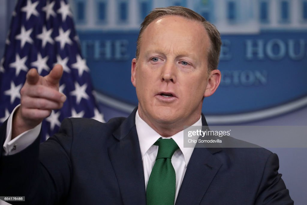 White House Press Secretary Sean Spicer calls on reporters' in the Brady Press Briefing Room at the White House March 16, 2017 in Washington, DC. Spicer accused the news media of 'cherry-picking' information when reporting about President Donald Trump's accusation that former President Barack Obama wire-tapped Trump Tower.