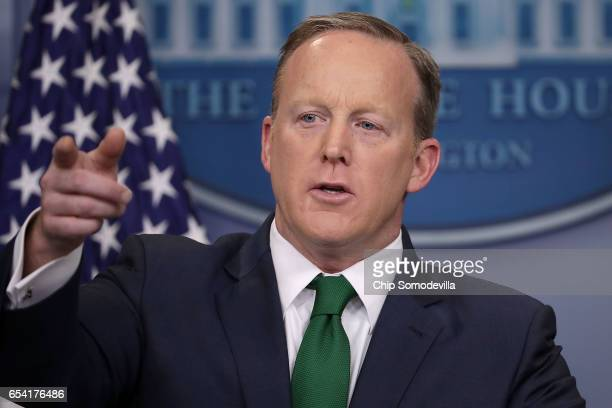 White House Press Secretary Sean Spicer calls on reporters' in the Brady Press Briefing Room at the White House March 16 2017 in Washington DC Spicer...