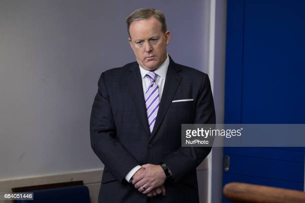 White House Press Secretary Sean Spicer calls on reporters to ask questions of National Security Advisor H R McMaster during the press briefing in...