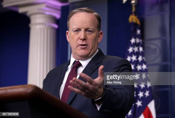 White House Press Secretary Sean Spicer conducts a daily press briefing at the James Brady Press Room of the White House March 24 2017 in Washington...