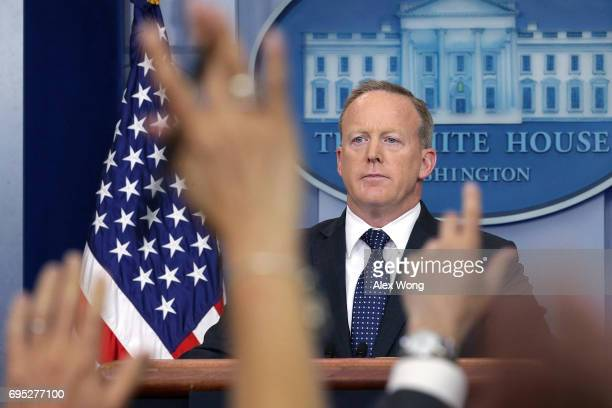 White House Press Secretary Sean Spicer conducts a White House daily briefing at the James Brady Press Briefing Room of the White House June 12 2017...