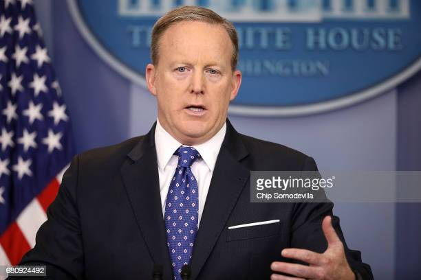 White House Press Secretary Sean Spicer conducts the daily news conference in the Brady Press Briefing Room at the White House May 9 2017 in...