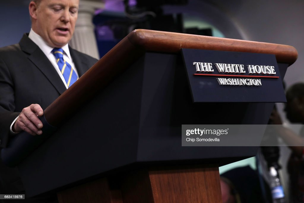 White House Press Secretary Sean Spicer delivers remarks at the beginning of the daily press breifing at the White House May 15, 2017 in Washington, DC. Reporters continued to press Spicer about President Donald Trump's Tweet about the possible existence of taped conversations at the White House but he refused to comment.