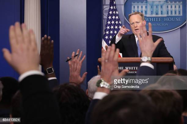 White House Press Secretary Sean Spicer goes backandforth with reporters in the Brady Press Briefing Room at the White House February 9 2017 in...