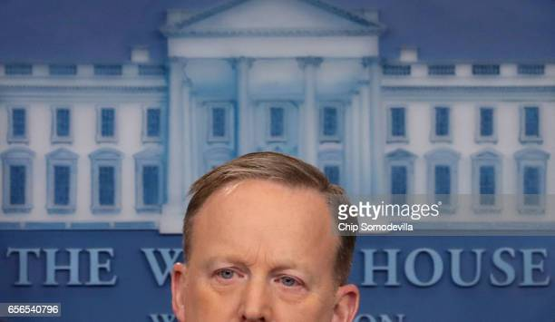 White House Press Secretary Sean Spicer holds a media briefing in the Brady Press Briefing Room at the White House March 22 2017 in Washington DC...