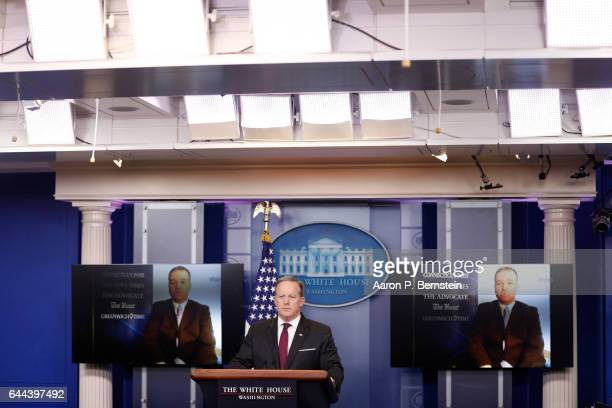 White House Press Secretary Sean Spicer holds the daily briefing February 23 2017 in at the White House in Washington DC Spicer addressed US...