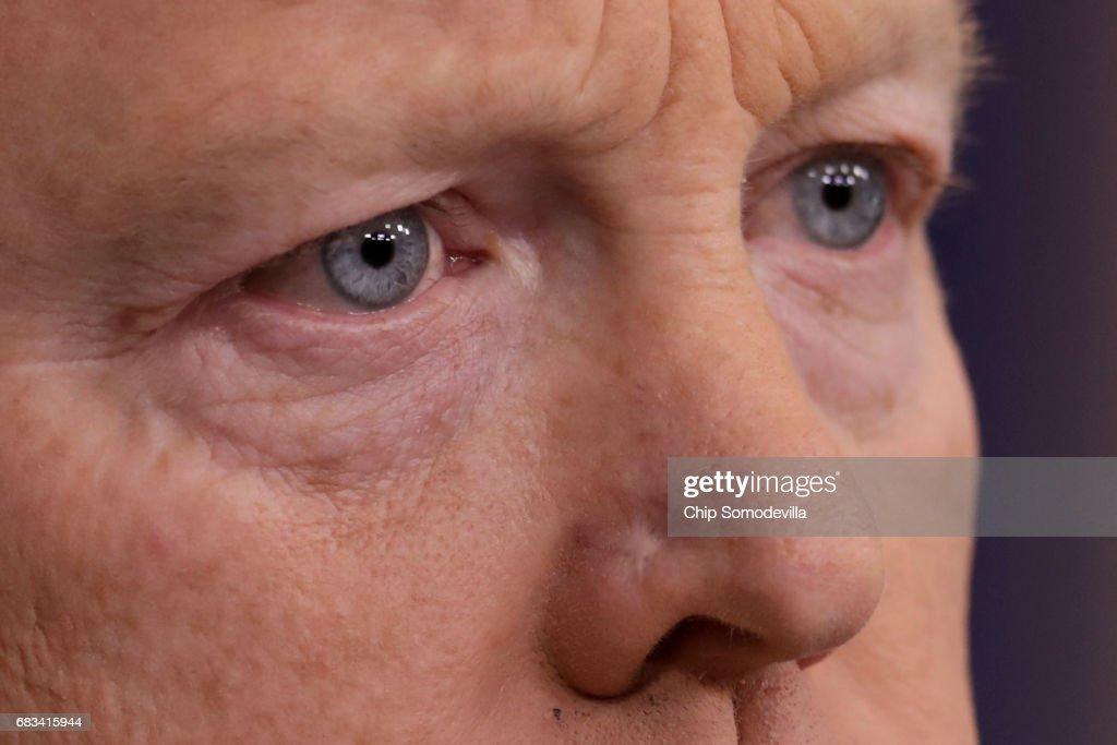 White House Press Secretary Sean Spicer holds the daily press breifing at the White House May 15, 2017 in Washington, DC. Reporters continued to press Spicer about President Donald Trump's Tweet about the possible existence of taped conversations at the White House but he refused to comment.